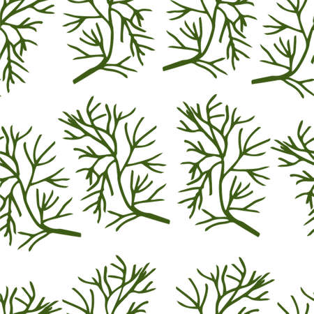 Stylized dill seamless pattern on white background hand-drawn Иллюстрация