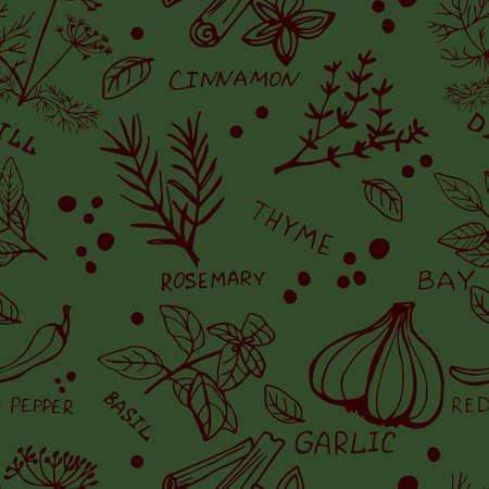 Naadloze vintage patroon met inkt hand getrokken kruiden en planten schets op groen