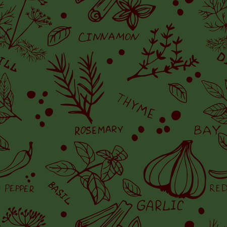 Seamless vintage pattern with ink hand drawn  herbs and plants sketch on green Ilustração
