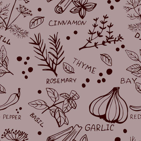Seamless vintage pattern with ink hand drawn  herbs and plants sketch on grey