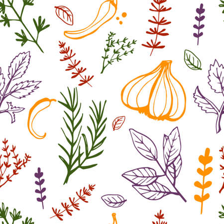 Seamless vintage pattern with ink hand drawn  herbs and plants sketch Ilustração