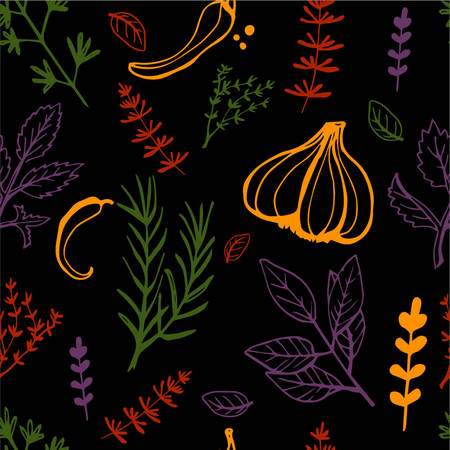 Seamless vintage pattern with ink hand drawn  herbs and plants sketch on black
