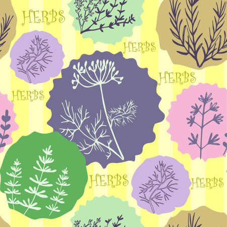 salvia: Seamless vintage pattern with ink hand drawn  herbs and plants sketch Illustration