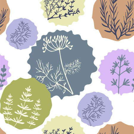Seamless vintage pattern with ink hand drawn  herbs and plants sketch 向量圖像