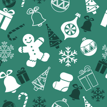 seamless christmas background with tree ginger bread man sock and snowflakes Çizim