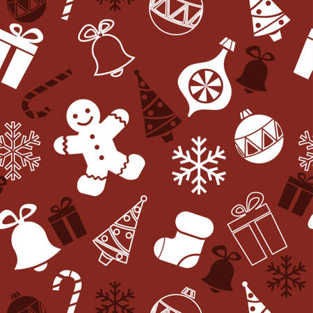seamless christmas background with tree ginger bread man sock and snowflakes Illustration
