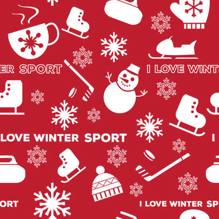 equipamento: Winter sports seamless pattern with equipment flat icons.