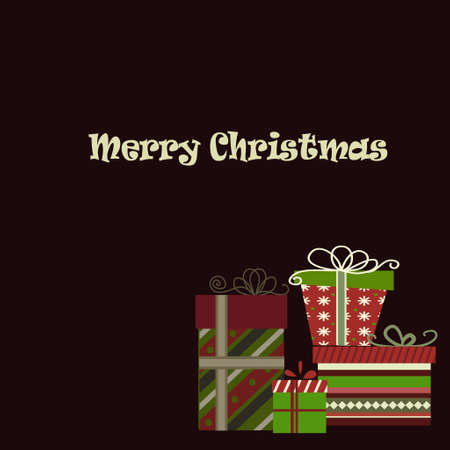Meery Christmas background with gifts on dark Çizim