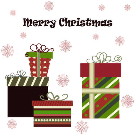 christmas gifts: Meery Christmas background with gifts on dark Illustration
