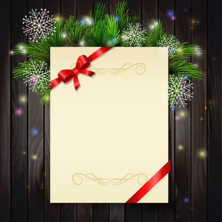 christmas winter: Christmas background with paper ribbon and lights on a wood walland snowflakes