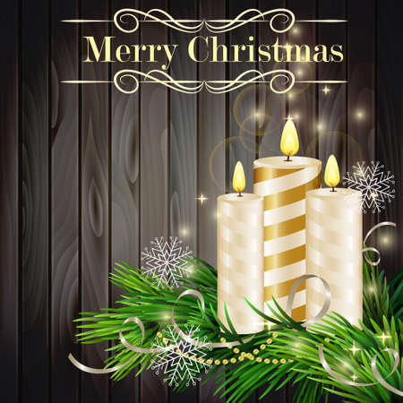 glimmered: Christmas background with burning candles and Christmas tree on grey wood Illustration