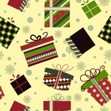 Retro Christmas Gift boxes Seamless pattern background Illusztráció
