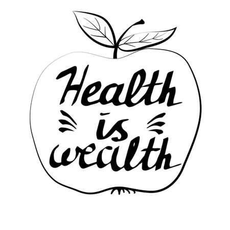 Hand drawn typography poster health is wealth in apple Çizim