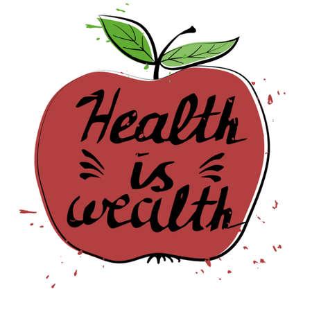 手描きタイポグラフィー ポスター健康はアップルの富  イラスト・ベクター素材