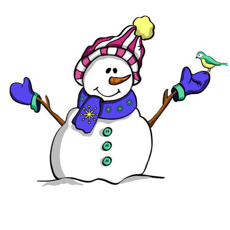 Happy Christmas snowman  and a bird . Winter friends