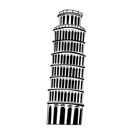 schets: Sketch Pisa tower on white background vector Stock Illustratie
