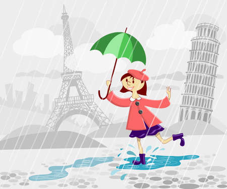 French girl with umbrella running under rain