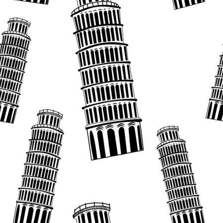 pisa: Sketch Pisa tower vector vintage seamless pattern Illustration