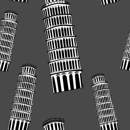 Sketch Pisa tower vector vintage seamless pattern on grey 向量圖像