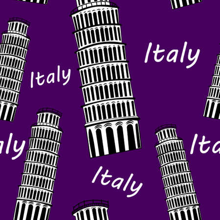 schets: Sketch Pisa tower vector vintage seamless pattern Stock Illustratie