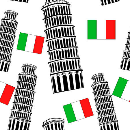 pisa tower: Sketch Pisa tower vector vintage seamless pattern with flag
