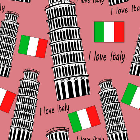 Sketch Pisa tower vector vintage seamless pattern with flag on pink