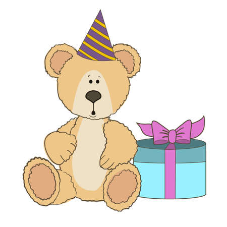 clumsy: Teddy Bear is sitting with gift box on wite Illustration