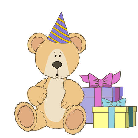 wite: Teddy Bear is sitting with gift boxes on wite