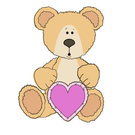 wite: Teddy Bear is sitting with gift heart on wite Illustration
