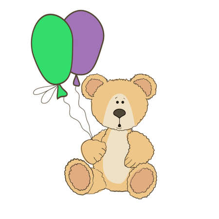 balloons teddy bear: Teddy Bear is sitting with two balloons on white Illustration