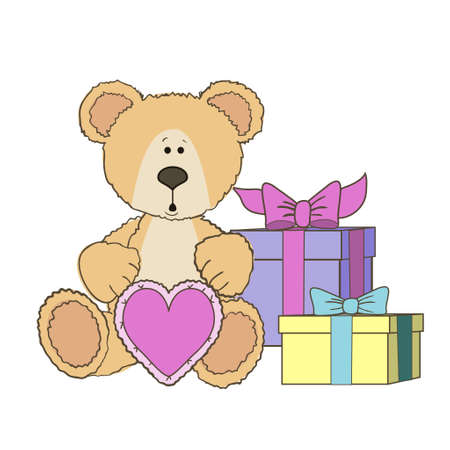 wite: Teddy Bear is sitting with gift heart and gift boxes on wite