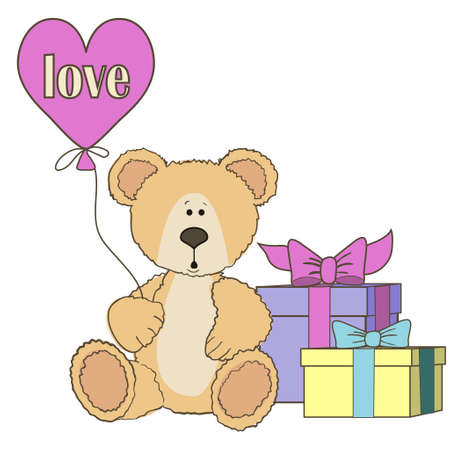 clumsy: Teddy Bear is sitting with gift box on wite with balloon heart shape