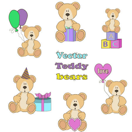 clumsy: Teddy Bear set with balloones heart gifts and blockes