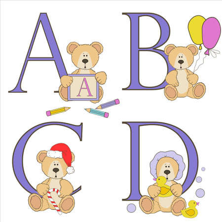 Teddy bear alphabet a b c d with illustrations