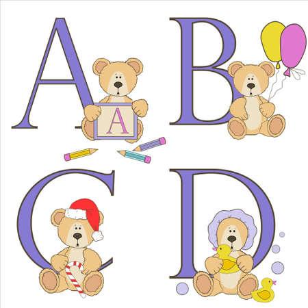 phonetic: Teddy bear alphabet a b c d with illustrations