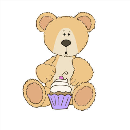 birthday presents: Teddy bear with cup cake with cherry on top