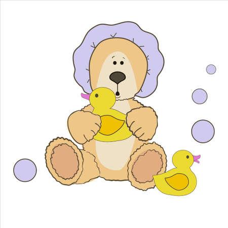 bath time: Teddy bear bath time in bath hat and rubber duck