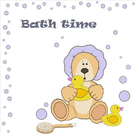 bath time: Teddy bear bath time in bath hat and rubber duck card