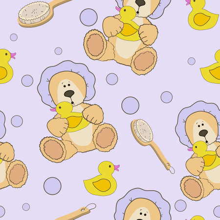 bath time: Teddy bear bath time in bath hat and rubber duck card