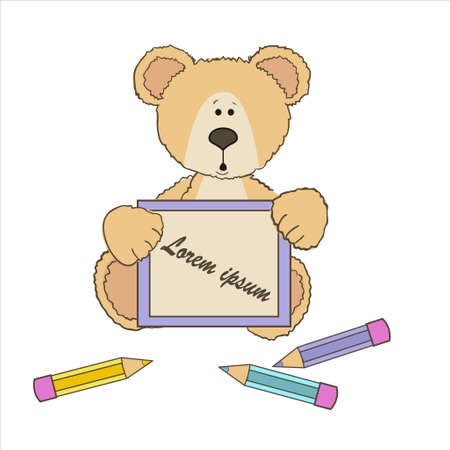 baby on board: Teddy bear with three pencils and a board