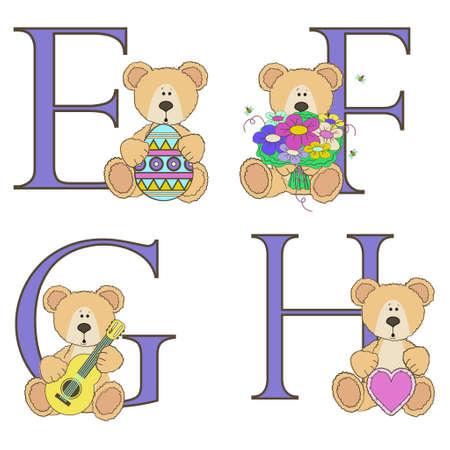 Teddy bear alphabet a b c d with illustrations