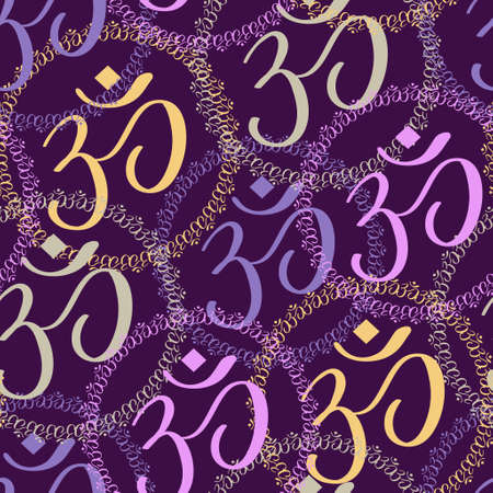 Seamless pattern of colorful Om signs on background Vectores