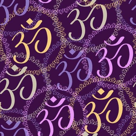 sanskrit: Seamless pattern of colorful Om signs on background Illustration
