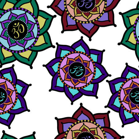 om: Seamless pattern of colorful Om signs in lotus