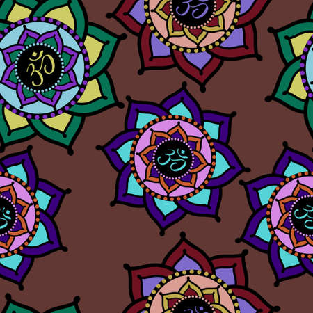 Seamless pattern of colorful Om signs in lotus