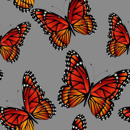 明るいカラフルな君主蝶とのシームレスなパターン。グレーのベクター イラスト
