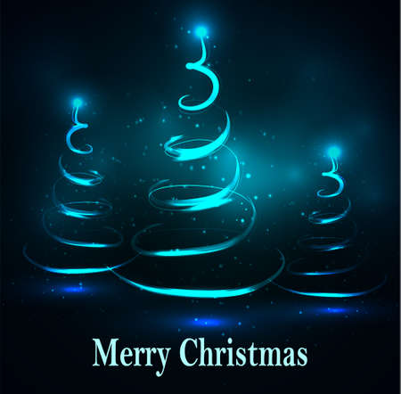 Vector abstract dark background three Christmas trees on blue