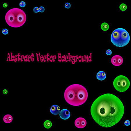 Vector Illustration of funny Bubbles on black