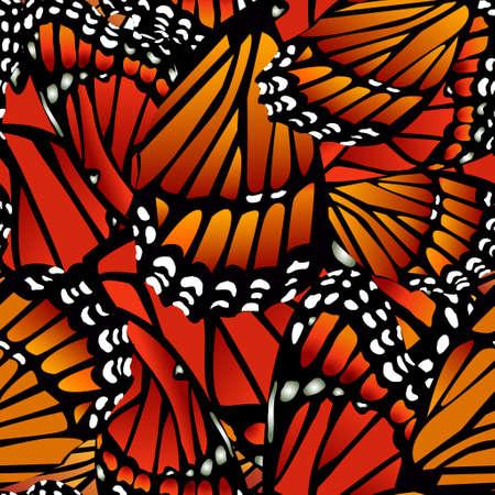 白のシームレスなモナーク バタフライ パターン翼