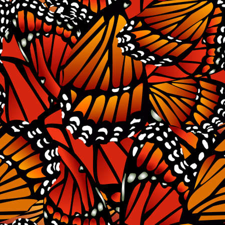Seamless Monarch butterfly pattern wings on white